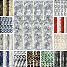 Flauschvorhang, Chenille Vorhang, Insektenschutz für den Sommer Extrabreit, Auswahl: 140x200 Meliert hellgrau - weiß