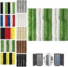 Flauschvorhang, Chenille Vorhang, Insektenschutz für den Sommer Extrabreit, Auswahl: 140x220 Unistreifen grün - weiß
