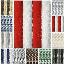 Flauschvorhang, Chenille Vorhang, Insektenschutz für den Sommer Extrabreit, Auswahl: 140x220 Unistreifen rot - weiß