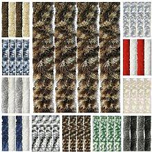 Flauschvorhang, Chenille Vorhang, Insektenschutz für den Sommer Extrabreit, Auswahl: 140x200 Meliert beige - braun
