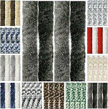 Flauschvorhang, Chenille Vorhang, Insektenschutz für den Sommer Extrabreit, Auswahl: 140x200 Unistreifen anthrazit - schwarz