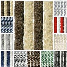Flauschvorhang, Chenille Vorhang, Insektenschutz für den Sommer Extrabreit, Auswahl: 140x200 Unistreifen beige - braun