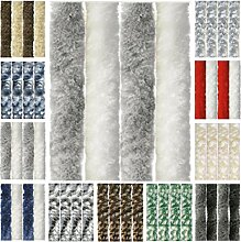 Flauschvorhang, Chenille Vorhang, Insektenschutz für den Sommer Extrabreit, Auswahl: 140x220 Unistreifen hellgrau - weiß