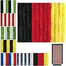 Flauschvorhang in Fussballvereins- und Länderfarben, Campingvorhang Insektenschutz, Auswahl: 90x200 cm Unistreifen schwarz - rot - gelb
