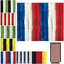 Flauschvorhang in Fussballvereins- und Länderfarben, Campingvorhang Insektenschutz, Auswahl: 120x220 cm Unistreifen rot - weiß - blau