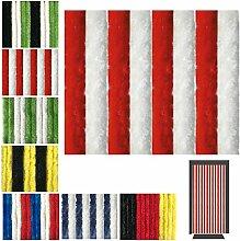 Flauschvorhang in Fussballvereins- und Länderfarben, Campingvorhang Insektenschutz, Auswahl: 90x200 cm Unistreifen rot - weiß