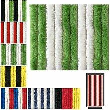 Flauschvorhang in Fussballvereins- und Länderfarben, Campingvorhang Insektenschutz, Auswahl: 90x220 cm Unistreifen grün - weiß
