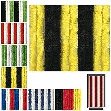 Flauschvorhang in Fussballvereins- und Länderfarben, Campingvorhang Insektenschutz, Auswahl: 120x200 cm Unistreifen Schwarz - Gelb
