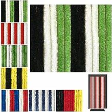 Flauschvorhang in Fussballvereins- und Länderfarben, Campingvorhang Insektenschutz, Auswahl: 56x185 cm Unistreifen schwarz - grün - weiß