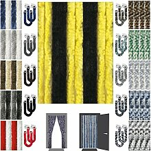 Flauschvorhang inkl. Raffhalter, Insektenschutz Moskitoschutz Campingvorhang, Auswahl: Unistreifen schwarz - gelb 140x220 cm