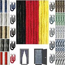 Flauschvorhang inkl. Raffhalter, Insektenschutz Moskitoschutz Campingvorhang, Auswahl: Unistreifen schwarz - rot - gelb 90x220 cm