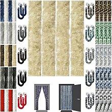 Flauschvorhang inkl. Raffhalter, Insektenschutz Moskitoschutz Campingvorhang, Auswahl: Unistreifen beige 90x210 cm