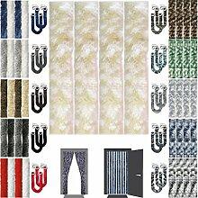 Flauschvorhang inkl. Raffhalter, Insektenschutz Moskitoschutz Campingvorhang, Auswahl: Meliert beige - weiß 140x220 cm