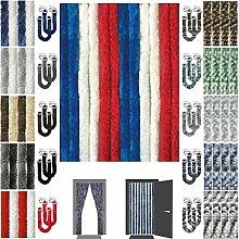 Flauschvorhang inkl. Raffhalter, Insektenschutz Moskitoschutz Campingvorhang, Auswahl: Unistreifen rot - weiß - blau 90x220 cm