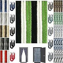 Flauschvorhang inkl. Raffhalter, Insektenschutz Moskitoschutz Campingvorhang, Auswahl: Unistreifen schwarz - grün - weiß 90x200 cm
