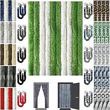 Flauschvorhang inkl. Raffhalter, Insektenschutz Moskitoschutz Campingvorhang, Auswahl: Unistreifen grün - weiß 90x220 cm