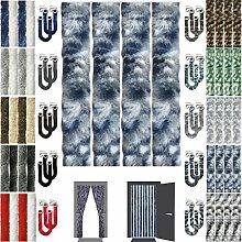 Flauschvorhang Insektenschutz + Raffhalter Auswahl: Meliert Blau - Weiß - Silber 100x200 cm