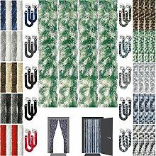 Flauschvorhang Insektenschutz + Raffhalter Auswahl: Meliert dunkelgrün - weiß 100x210 cm