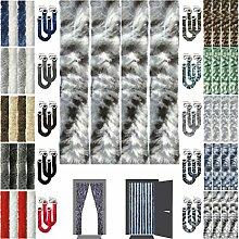 Flauschvorhang Insektenschutz + Raffhalter Auswahl: Meliert schwarz - grau - weiß 90x210 cm