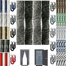 Flauschvorhang Insektenschutz + Raffhalter Auswahl: Unistreifen anthrazit - schwarz 90x220 cm