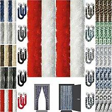 Flauschvorhang Insektenschutz + Raffhalter Auswahl: Unistreifen rot - weiß 90x210 cm