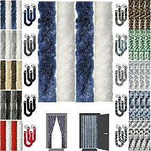 Flauschvorhang Insektenschutz + Raffhalter Auswahl: Unistreifen dunkelblau - weiß 90x210 cm