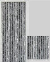 Flauschvorhang Türvorhang Insektenschutzvorhang, Bicolor, Hellgrau und Dunkelgrau (Maß 110 (breite) cm x 220 (länge) cm )