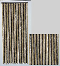 Flauschvorhang Türvorhang Insektenschutzvorhang, Bicolor, klar und natürlich Braun (Maß 115 (breite) cm x 220 (länge) cm )