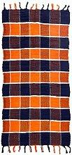 Fleckerlteppich Baumwolle Handweb Teppich Flickenteppich 70 X 140 cm (orange)