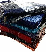 Fleckerlteppich Baumwolle Handweb Teppich Flickenteppich 70 X 140 cm (rot)