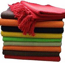 Fleckerlteppich Baumwolle Handweb Teppich Flickenteppich Fleckerl Handwebteppich (120 x 190 cm, orange)