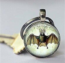 Fledermaus-Schlüsselanhänger, Vintage-Bild mit