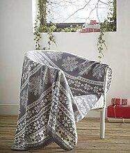 Fleece-Decke, Alpines Design, grau, Nordisches