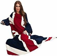 Fleece-Decke mit Ärmeln und Union-Jack-Design (Einheitsgröße) (Blau/Rot/Weiß)