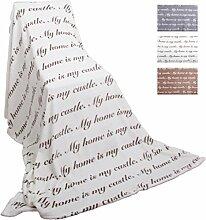 Fleece Decke mit Schrift 150x200cm Auswahl: weiß - cremeweiß