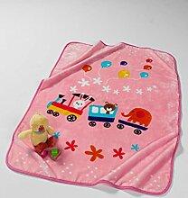 Fleece Kinderdecke Kinderkuscheldecke Krabbeldecke Tierzug rosa 100x140cm