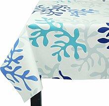 Fleur De Soleil n160cleu Tischdecke QUADRATISCH Beschichtete Baumwolle 160x 160cm, Stoff, Bleu/Turquoise/Blanc, 160x160x0.2 cm