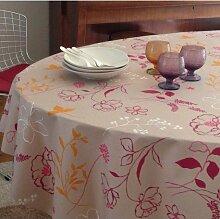 Fleur De Soleil n160cleu Tischdecke QUADRATISCH Beschichtete Baumwolle 160x 160cm, Stoff, Prune/Rose/Orange/Taupe/Blanc, 160x160x0.2 cm