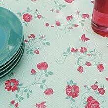 Fleur De Soleil n160cleu Tischdecke QUADRATISCH Beschichtete Baumwolle 160x 160cm, Stoff, Grün/Rot/Weiß, 160x160x0.2 cm
