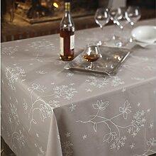 Fleur De Soleil n160cleu Tischdecke QUADRATISCH Beschichtete Baumwolle 160x 160cm, Stoff, rosa/weiß, 160x160x0.2 cm