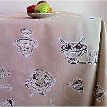 Fleur De Soleil n160epart Beschichtete Baumwolle Tischdecke Quadratisch 160x 160cm, Taupe/Weiß