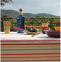 Fleur De Soleil n160rocleu Tischdecke rund 160cm Beschichtete Baumwolle, Stoff, Framboise/Jaune/Turquoise/Vert/Blanc, 160x160x0.2 cm