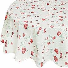 Fleur De Soleil n160rocleu Tischdecke rund 160cm Beschichtete Baumwolle, Stoff, Grün / Rot / Weiß, 160x160x0.2 cm