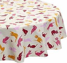 Fleur De Soleil n200oveasb Tischdecke oval Beschichtete Baumwolle 160x 200cm, Stoff, Prune/Rose/Orange/Taupe/Blanc, 200x160x0.2 cm