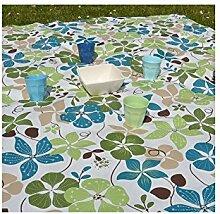Fleur De Soleil n240cleu Tischdecke QUADRATISCH Beschichtete Baumwolle 160x 200cm, Stoff, Vert/Bleu/Blanc, 240x160x0.2 cm