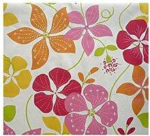 Fleur De Soleil n240cleu Tischdecke QUADRATISCH Beschichtete Baumwolle 160x 200cm, Stoff, Orange/Rose/Vert/Blanc, 240x160x0.2 cm