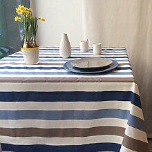 Fleur De Soleil n240cleu Tischdecke QUADRATISCH Beschichtete Baumwolle 160x 200cm, Stoff, Taupe/Bleu/Blanc, 240x160x0.2 cm