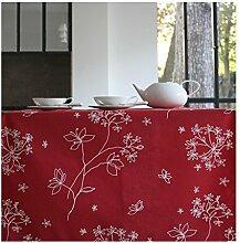 Fleur De Soleil n240cleu Tischdecke QUADRATISCH Beschichtete Baumwolle 160x 200cm, Stoff, rosa/weiß, 240x160x0.2 cm