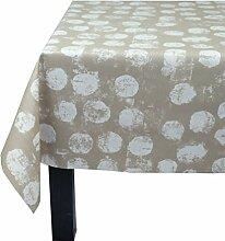 Fleur De Soleil n240epast Beschichtete Baumwolle Tischdecke taupe quadratisch 160x 200cm/Weiß