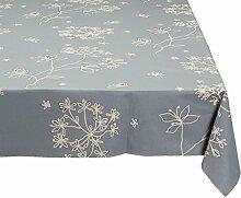 Fleur De Soleil n300cleu Tischdecke QUADRATISCH Beschichtete Baumwolle 160x 300cm, Stoff, grau/weiß, 300x160x0.2 cm